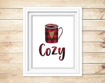 Cozy Red Buffalo Plaid on White Instant Download and Printable, Hot Cocoa, Christmas, Holiday Printable