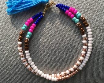 Double stranded tassel bracelet