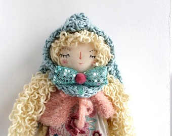 Lovely Spring Doll, Bunny Doll, Pixie Doll, Rag Doll, Handmade Soft Doll, Cloth Art Doll,Heirloom Doll