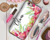 Pink iPhone case, Monogrammed gifts with her name, Unique birthday gift for her, Fits iPhone 4/4s 5/5s 6/6s 7 8 5c SE X and Plus (1751)