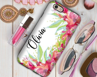 Pink iPhone case, Floral tech accessories, Monogrammed gifts with her name, Iphone 7 case with flowers, Unique birthday gift for her (1751)