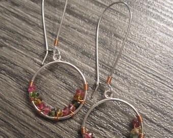 Silver Beaded Hoop Earrings with Watermelon Tourmaline Gemstones