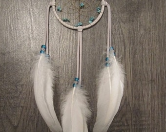 ON SALE Dream Catcher White Deerskin with Rare White Holland Turkey Feathers