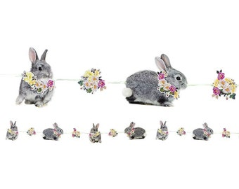 Easter bunny bunting, eater garland, Easter party decorations, Easter celebrations, festive bunny birthday party garland, bunny pennant