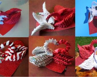 3D origami Loving swans