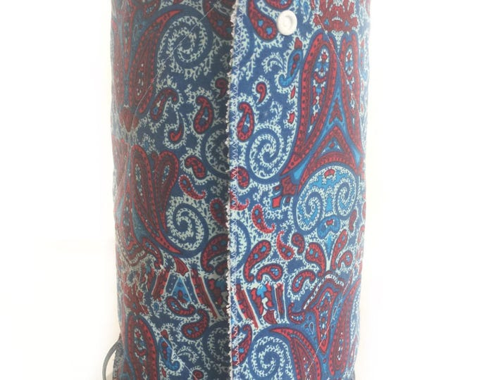 Unpaper towels, Blue and Red Roll of 12 cotton terry cloth kitchen towels, Snap together towels, cotton napkins, Reusable Paper Towels