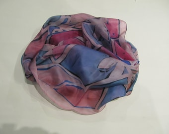 Hand-painted natural silk scarf wiht stylized floral motif, purple, pink, blue, 180 x 50 cm.