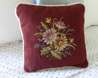 Vintage Needlepoint Pillow. Flowers. Southern Cottage Home Decor