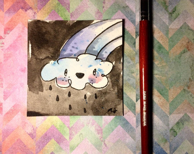 """Watercolor and ink Painting """"Happy Cloud"""" 3x3 inches drawing / decoration."""