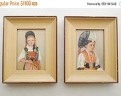 ON SALE Vintage Set of Two Framed Prints M. Riggenbach Ethnic Children,Costumes Suisses: Schaffhausen, Switzerland,, Cottage Chic