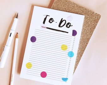 To-Do List Notepad, Notebook Hand Brush Lettered Stationery Checklist Checkbox Desk Pad Polkadot Confetti Calligraphy Lettering Typography