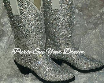 Custom Design Swarovski Crystal Wedding White Cowboy Boots