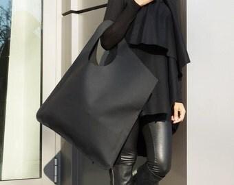 NEW Genuine Leather Matt Black Bag / High Quality  Tote Asymmetrical  Large Bag by AAKASHA A14552