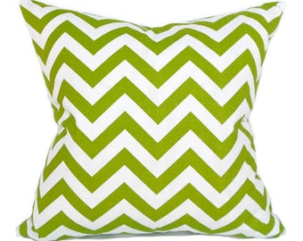 Pillow Covers ANY SIZE Decorative Pillow Green Pillow Premier Prints Chevron ZigZag Chartreuse Green White