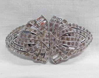 Art Deco Rhinestone Duette Dress Clips Shoe Clips Roundels & Baguettes Shield Shape Vintage 1930's Bridal Wedding Sash Pin Patend Number