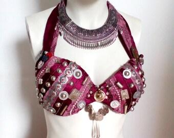 SALE - The purple shield - stripped tribal fusion bellydance bra - us A/B cup, eu B/C cup