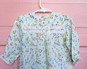 Vintage floral strawberry baby dress- vintage baby dress/ lace- easter dress summer dress size 6/9M