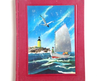 Vintage Red book, lake sail boat sailing seagull lighthouse home decor mantle cabin cottage style rustic antique children's text book