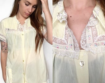 VTG Pastel Yellow Babydoll Night Shirt