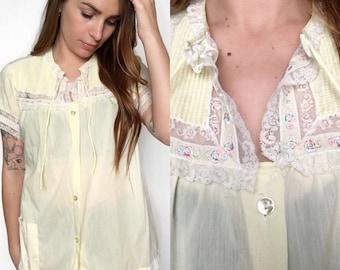 VTG Pastel Yellow Babydoll Night Shirt