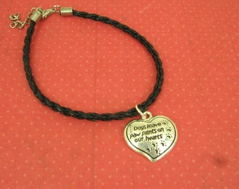 "On Sale Mothers Day Gift for Her, for Animal Lovers, Dog/Cat, Sterling Charm, Adorable ""Dogs Leave Paw Prints on Our Hearts"""