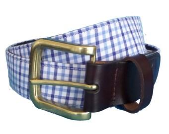 Oxford Plaid Leather Belt / Leather Belt / Nautical Belt / Preppy Webbing Belt Men, Women and Children/Oxford Blue Plaid Leather Belt