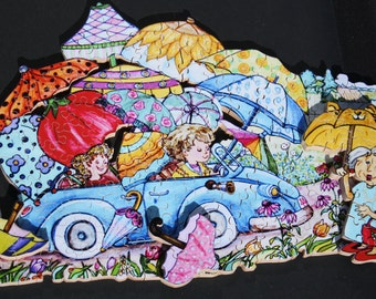 """Umbrella's - a 150 piece-"""" Double Decker"""" Wooden Jigsaw Puzzle by BCB Puzzles"""