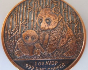 Panda 1 oz .999 Pure Copper Challenge Coin with Black Patina