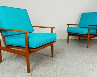 pair mid century Danish modern Selig Kofod Larsen style reupholstered blue tweed birch framed lounge chairs