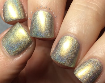It's A Good Life - Multi Chrome Chameleon - Linear Holographic - Gold Green Nail Polish