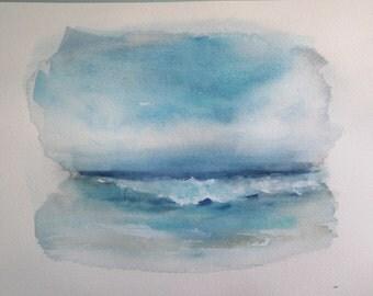 Sky Sea Sand~hand painted original watercolor seascape