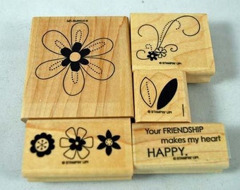 Mint Stampin Up Rubber Stamp Set Friendship Blooms
