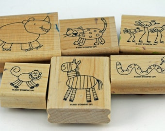 "Mint Retired Stampin Up Stamp Set ""Zoofari"""