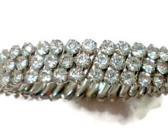 Vintage Bridal 3 Row Rhinestone Stretch Bracelet