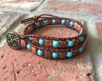 Bohemian Bracelet, Wrap Bracelet, Blue and Gold Leather Bracelet, Tile Bracelet, Leather Bracelet, Leather Choker, Brass Button