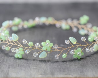 Mint Green Crystal Hair Vine Wedding Leaves Crystal Hair Vine Bridal Flower Crown Bridal Headpiece Headband Crystal Halo Bridal  Accessory