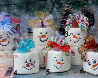Embroidered toilet paper.Snowman Embroidered Toilet Paper.Snowman faces.