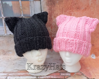 Cat hat.Pink cat hat.Knit cat hat.Made to order.