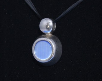 Silvertone Thick Pendant Slide with Blue Stone