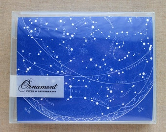 Letterpress Card Set with Celestial Map