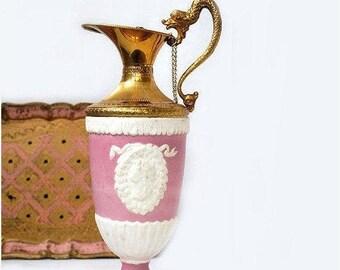 SALE Vintage Italian Wine Decanter,Pink Empire Style Jug,Porcelain Bisque Carafe,Pink Liquor bottle,Vintage barware.