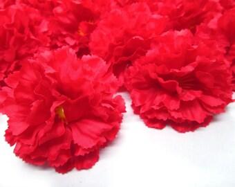 """2"""" Hawaiian Carnation Heads (Pack of 24) - Red - Artificial Flower, Silk Flower Heads"""