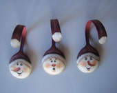 Painted RED Snowman Soup Spoon Christmas Ornament