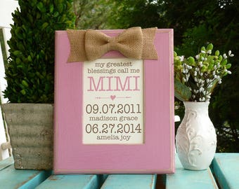 Mother in Law gift, My greatest blessings, Personalized Gift for Nana, Mother's Day Gift, Family Birthdates, Gift for Mom from Grandkids,