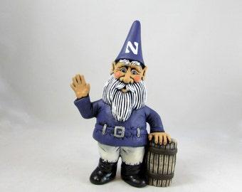 Ceramic Waving Happy Garden Gnome with Barrel & Hat Logo- 10 inches,  lawn or garden gnome, outdoor or indoor