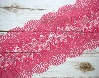 "7"" Hot Pink Crochet Look Double Scallop Galloon Stretch Lace By The Yard Bramaking Bra Making Lingerie Sewing"