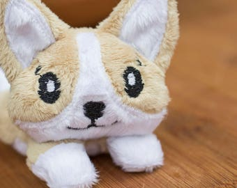 Medium Brown Corgi Stuffed Animal Plush Toy, Dog Plushie, Corgi Plush, Softie, In The Hoop Design
