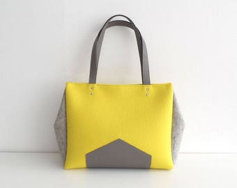 Yellow Gray Felt Leather Handbag