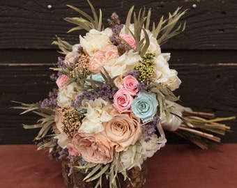 Champagne, Peach, Pink and Powder Blue Wedding Bouquet, Preserved Rose & Hydrangea Bridal Bouquet and Boutonniere Set, Dried Flower Bouquet