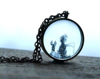 Little Prince fox necklace,Antoine de Saint Exupery jewelry, petit prince necklace,Resin necklace,Fox necklace,Best friend gift